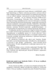 Konferencja naukowa pt. Konkordat Polski w 10 lat po ratyfikacji. Warszawa, 10 kwietnia 2008 r.