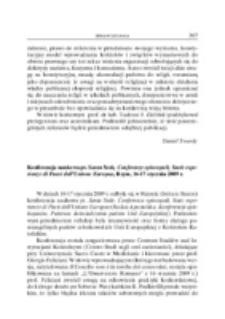 Konferencja naukowa pt. Santa Sede, Conferenze episcopali, Stati esperienze di Paesi dell' Unione Europea, Rzym, 16-17 stycznia 2009 r.