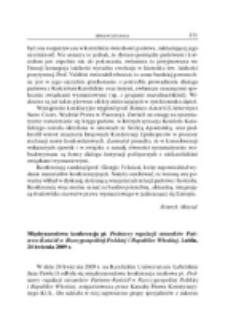 Międzynarodowa konferencja pt. Podstawy regulacji stosunków Państwo-Kościół w Rzeczypospolitej Polskiej i Republice Włoskiej, Lublin, 24 kwietnia 2009 r.