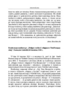 """Konferencja naukowa pt. """"Religia i wolność religijna w Unii Europejskiej"""", Tomaszów Lubelski, 16 kwietnia 2010 r."""