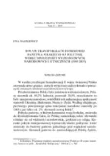 Wpływ transformacji ustrojowej państwa polskiego na politykę wobec mniejszości wyznaniowych, narodowych i etnicznych (1989-2005).