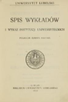 Spis Wykładów i Wykaz Instytucyj Uniwersyteckich. Półrocze zimowe 1920/1921