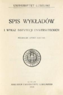 Spis Wykładów i Wykaz Instytucyj Uniwersyteckich. Półrocze letnie 1920/1921