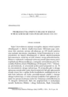 Problematyka pozycji religii w szkole w pracach Sejmu Ustawodawczego 1919-1922.