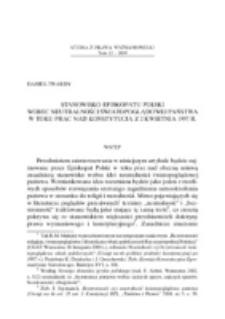 Stanowisko Episkopatu Polski wobec neutralności światopoglądowej państwa w toku prac nad Konstytucją z 2 kwietnia 1997 r.