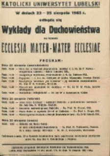 Wykłady dla duchowieństwa na temat : Ecclesia Mater - Mater Ecclesiae