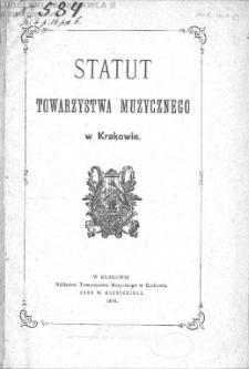Statut Towarzystwa Muzycznego w Krakowie.