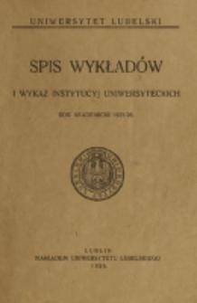 Spis Wykładów i Wykaz Instytucyj Uniwersyteckich. 1925/1926