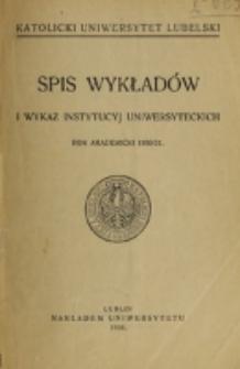 Spis Wykładów i Wykaz Instytucyj Uniwersyteckich. 1930/1931