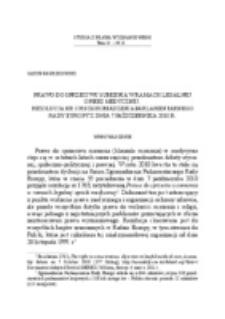 Prawo do sprzeciwu sumienia w ramach legalnej opieki medycznej. Rezolucja nr 1763 Zgromadzenia Parlamentarnego Rady Europy z dnia 7 października 2010 r.