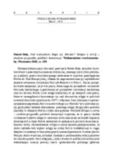 Recenzja : Paweł Bała, Pod wezwaniem Boga czy Narodu? Religia a ustrój –studium przypadku polskich konstytucji, Wydawnictwo von borowiecky, Warszawa 2010, ss. 359.