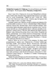 Wykład Prof. Josepha H.H. Weilera pt. Freedom of Religion and Freedom from Religion: The European Model, Warszawa, 12 maja 2011 r.