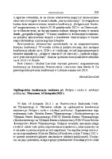 Ogólnopolska konferencja naukowa pt. Religia i etyka w edukacji publicznej, Warszawa, 16 listopada 2012 r.