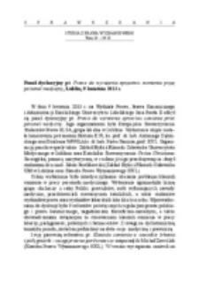 Panel dyskusyjny pt. Prawo do wyrażenia sprzeciwu sumienia przez personel medyczny, Lublin, 9 kwietnia 2013 r.