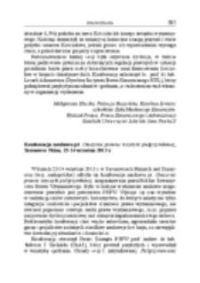 Konferencja naukowa pt. Otoczenie prawne turystyki pielgrzymkowej, Sromowce Niżne, 22-24 września 2013 r.