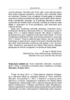 Sympozjum naukowe pt. Prawo małżeńskie Kościołów chrześcijańskich w Polsce w kontekście wyznaniowej formy małżeństwa cywilnego, Warszawa, 26 marca 2014 r.