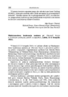 Międzynarodowa konferencja naukowa pt. Obecność krzyża w przestrzeni publicznej państw europejskich, Lublin, 12-13 listopada2014 r.