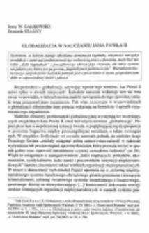 Globalizacja w nauczaniu Jana Pawła II.