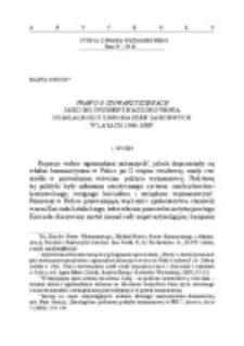 Prawo o stowarzyszeniach jako instrument nadzorowania działalności zgromadzeń zakonnych w latach 1949-1989.