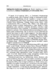 Ogólnopolska konferencja naukowa pt. Kwestie majątkowe w prawie wyznaniowym, Dwikozy k/Sandomierza, 15–16 września 2016 r.