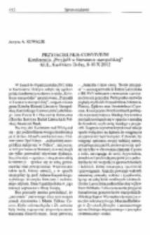 """Przyjacielskie convivium (Konferencja """"Przyjaźńw literaturze staropolskiej"""", KUL, Kazimierz Dolny, 8-10 X 2012)."""