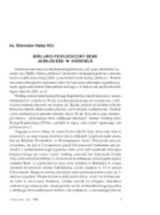 Biblijno-teologiczny sens jubileuszu w Kościele.