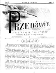 Przedświt : dwutygodnik dla kobiet. R. 1, nr 1 (1893)