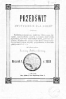Przedświt : dwutygodnik dla kobiet. R. 1 (1893). Wstęp, spis treści