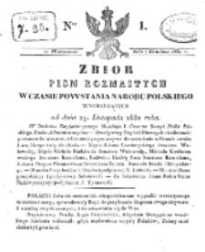 Zbiór Pism Rozmaitych Wychodzących w Czasie Powstania Narodu Polskiego.1830, nr 1