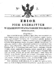 Zbiór Pism Rozmaitych Wychodzących w Czasie Powstania Narodu Polskiego.1830, nr 5 (11 Grudnia)