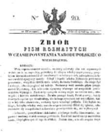 Zbiór Pism Rozmaitych Wychodzących w Czasie Powstania Narodu Polskiego.1830, nr 20 (28 Grudnia)