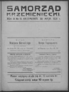 Samorząd Krzemieniecki. R. 3, nr 15 (30 maja 1925)