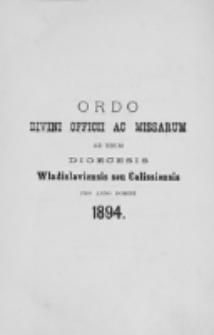 Ordo Divini Officii ad usum Universi Cleri Sæcularis Dioecesis Vladislaviensis seu Calissiensis pro Anno 1894