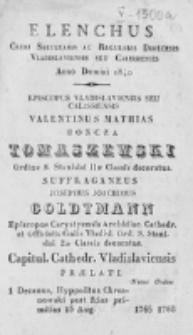 Elenchus Cleri Saecularis ac Regularis Dioecesis Vladislaviensis seu Calissiensis Anno Domini 1840