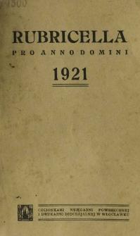 Ordo Divini Officii ad usum Universi Cleri Sæcularis Dioecesis Vladislaviensis seu Calissiensis pro Anno 1921