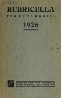 Ordo Divini Officii ad usum Universi Cleri Sæcularis Dioecesis Vladislaviensis seu Calissiensis pro Anno 1926