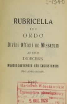 Ordo Divini Officii ad usum Universi Cleri Sæcularis Dioecesis Vladislaviensis seu Calissiensis pro Anno 1927