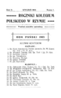 Roczniki Kolegium Polskiego w Rzymie. R. 2 , nr 1 (styczeń 1903)