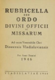 Ordo Divini Officii ac Missarum ad usum Dioecesis Wladislaviensis pro Anno Domini 1946