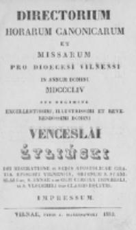 Directorium Horarum Canonicarum et Missarum pro Dioecesi Vilnensi 1854