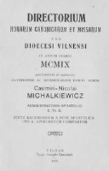 Directorium Horarum Canonicarum et Missarum pro Dioecesi Vilnensi 1909