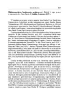 Międzynarodowa konferencja naukowa pt. Kościół i jego prawo w nauczaniu św. Jana Pawła II, Lublin, 9 czerwca 2017 r.