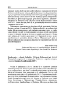 Konferencja z okazji obchodów 500-lecia Reformacji pt. Kościół Ewangelicko-Augsburski w relacjach z Państwem – aspekty ustrojowe i prawne, Kraków, 9 października 2017 r.