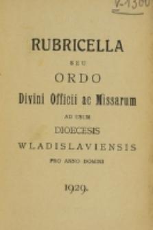 Ordo Divini Officii ac Missarum ad usum Dioecesis Wladislaviensis pro Anno Domini 1929