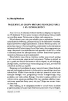 Prezentacja grupy rekolekcyjno-misyjnej i jej działalności.