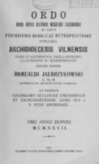 Ordo Divini Officii Recitandi Missaeque Celebrandae ad Usum Perinsignis Basilicae Metropolitanae Totiusque Archidioecesis Vilnensis 1927
