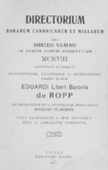 Directorium Horarum Canonicarum et Missarum pro Dioecesi Vilnensi 1908