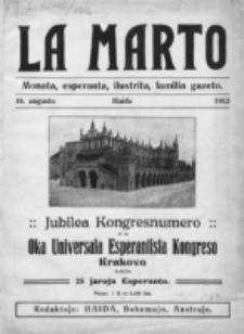 La Marto : monata, Esperanta, ilustrita, familia gazeto. 10 aügusto 1912 (Jubilea Kongresnumero)