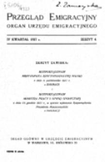 Przegląd Emigracyjny : organ Urzędu Emigracyjnego. Z. 4 (IV kwartał 1927)