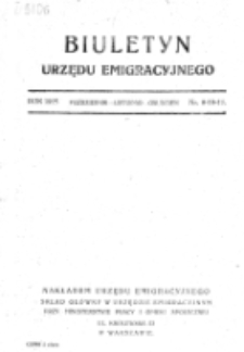 Biuletyn Urzędu Emigracyjnego. Nr 9/10/11 (październik/listopad/grudzień)